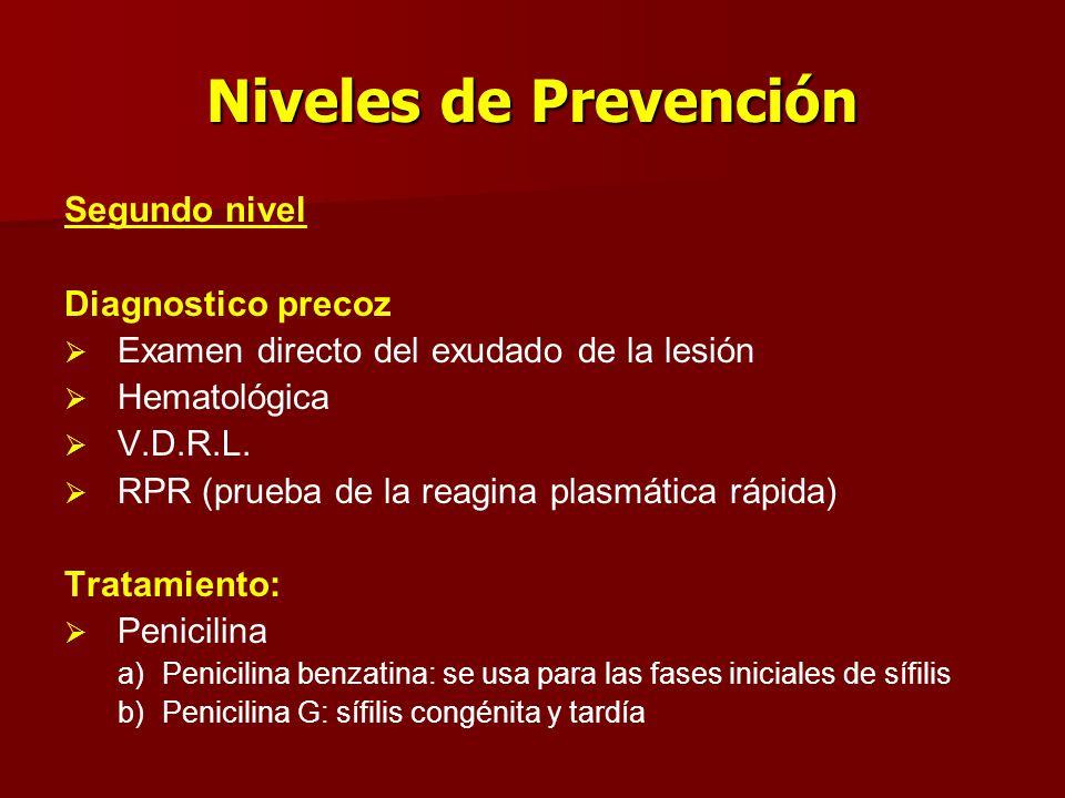 Niveles de Prevención Segundo nivel Diagnostico precoz