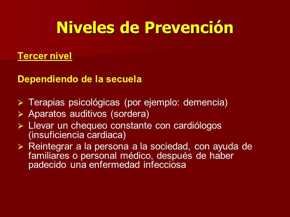 Niveles de Prevención Tercer nivel Dependiendo de la secuela