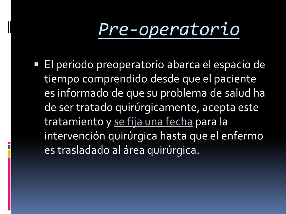 Pre-operatorio