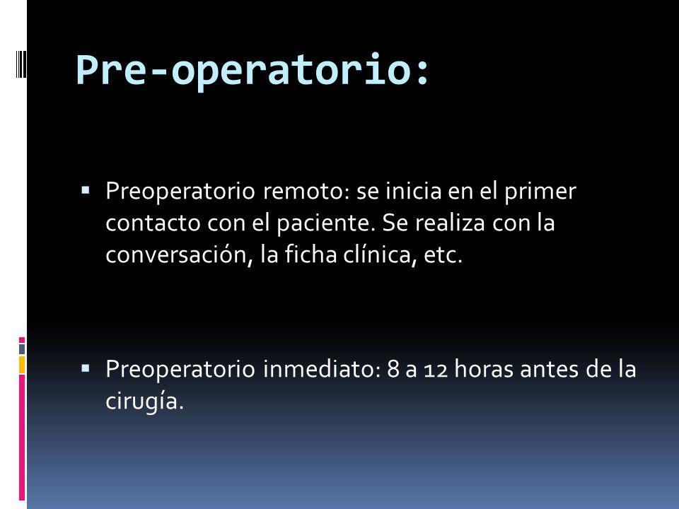 Pre-operatorio: Preoperatorio remoto: se inicia en el primer contacto con el paciente. Se realiza con la conversación, la ficha clínica, etc.