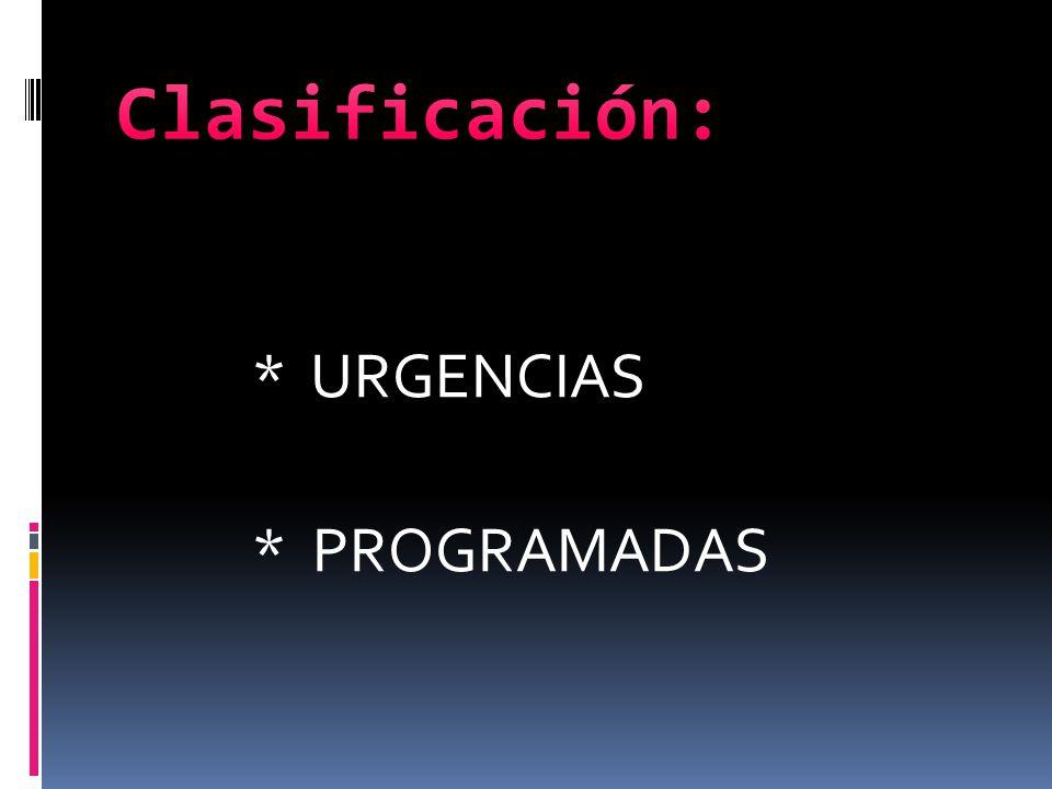 Clasificación: * URGENCIAS * PROGRAMADAS