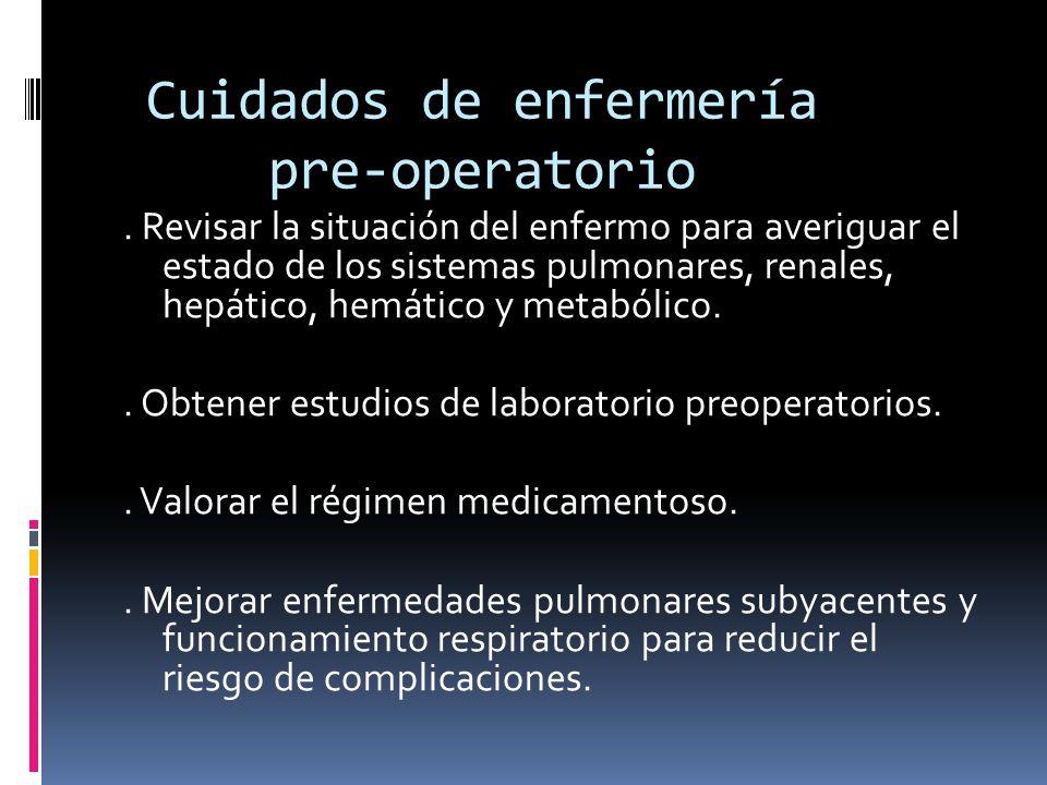 Cuidados de enfermería pre-operatorio