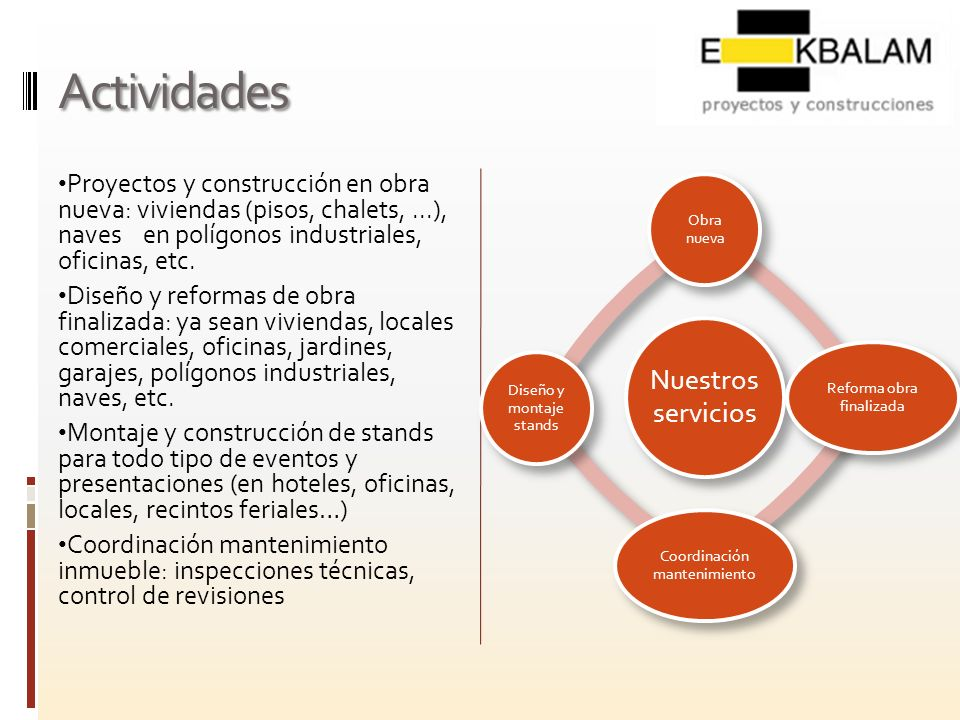 Actividades Nuestros servicios. Obra nueva. Reforma obra finalizada. Coordinación mantenimiento.