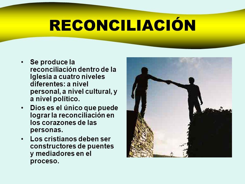 RECONCILIACIÓNSe produce la reconciliación dentro de la Iglesia a cuatro niveles diferentes: a nivel personal, a nivel cultural, y a nivel político.