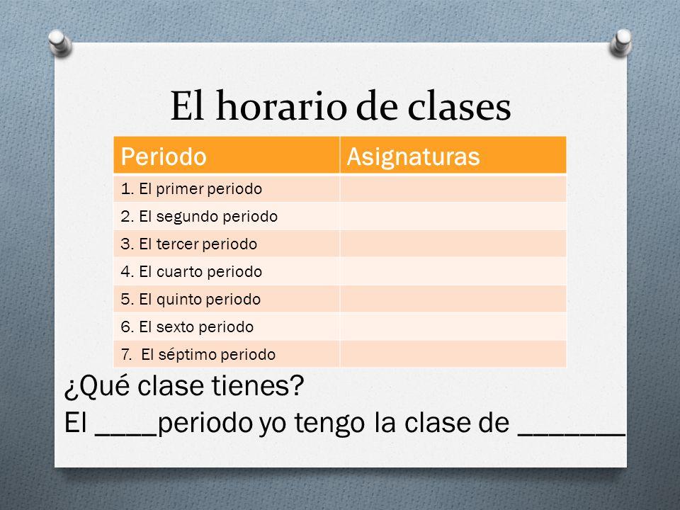 El horario de clases ¿Qué clase tienes