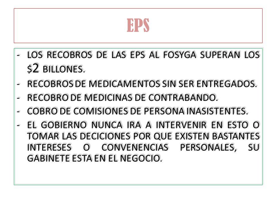 EPS LOS RECOBROS DE LAS EPS AL FOSYGA SUPERAN LOS $2 BILLONES.