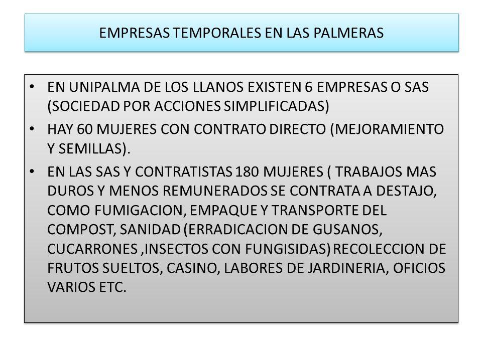 EMPRESAS TEMPORALES EN LAS PALMERAS