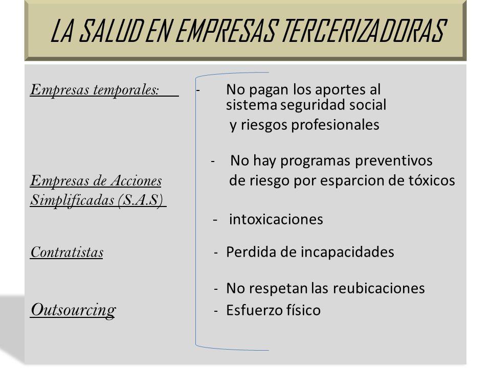 LA SALUD EN EMPRESAS TERCERIZADORAS