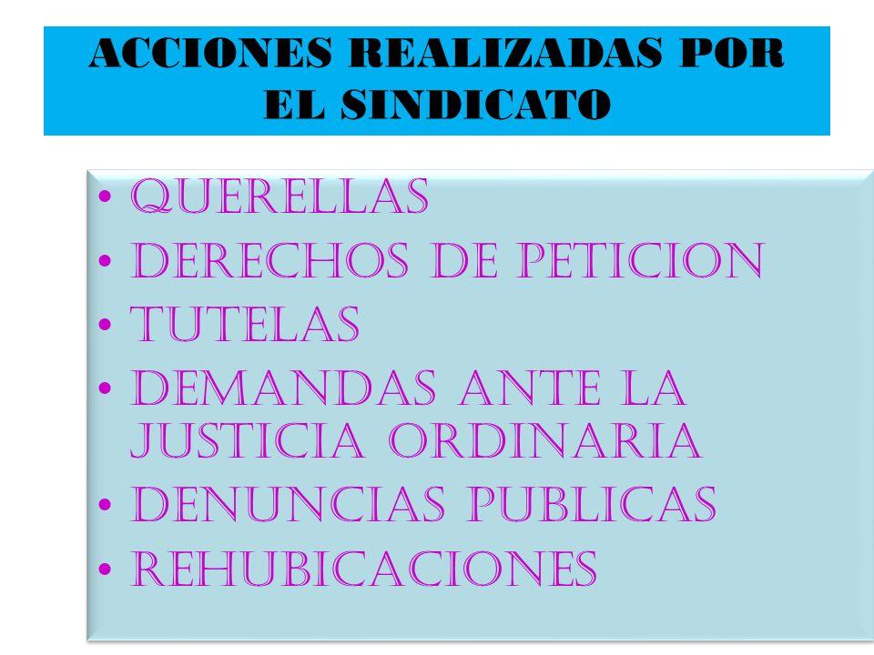 ACCIONES REALIZADAS POR EL SINDICATO