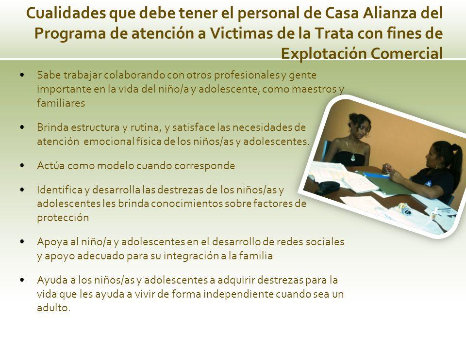 Cualidades que debe tener el personal de Casa Alianza del Programa de atención a Victimas de la Trata con fines de Explotación Comercial