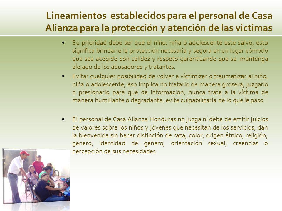 Lineamientos establecidos para el personal de Casa Alianza para la protección y atención de las victimas