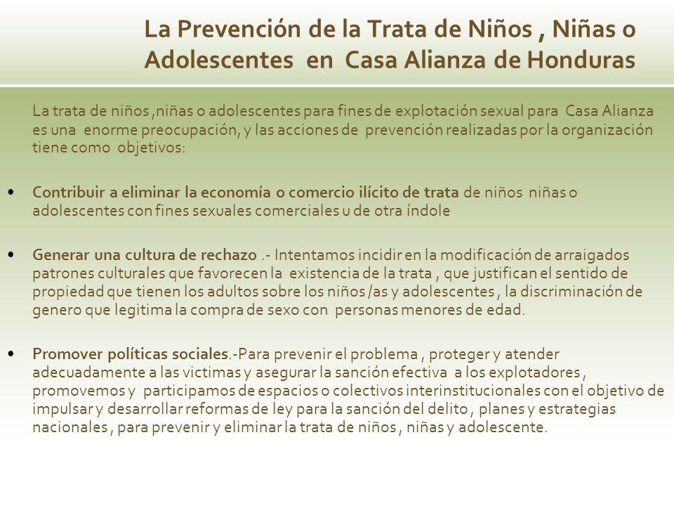 La Prevención de la Trata de Niños , Niñas o Adolescentes en Casa Alianza de Honduras