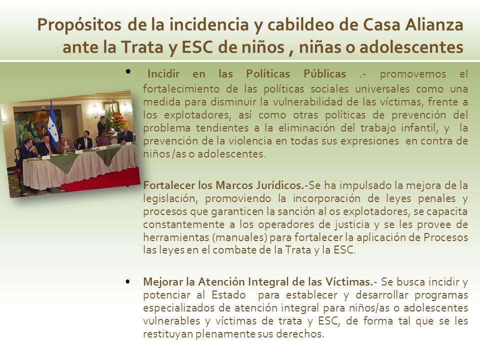 Propósitos de la incidencia y cabildeo de Casa Alianza ante la Trata y ESC de niños , niñas o adolescentes