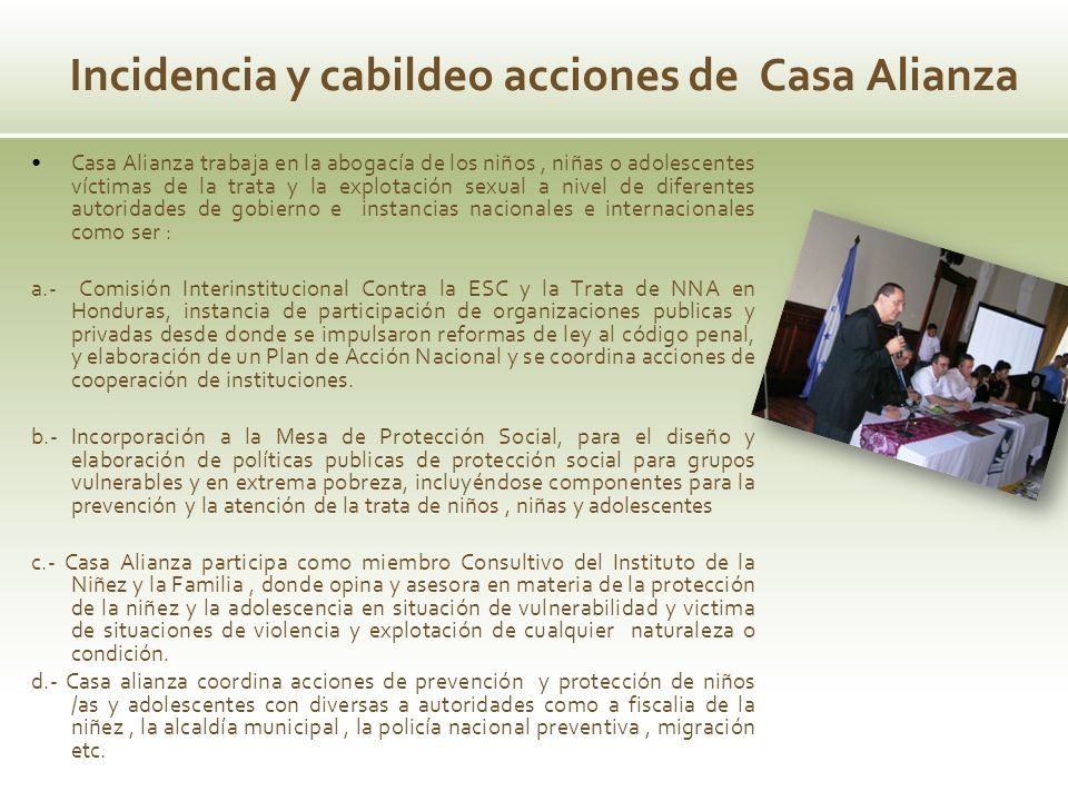 Incidencia y cabildeo acciones de Casa Alianza