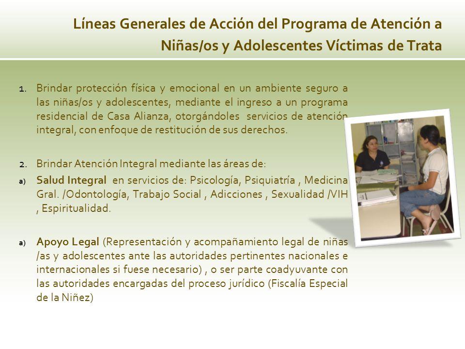 Líneas Generales de Acción del Programa de Atención a Niñas/os y Adolescentes Víctimas de Trata