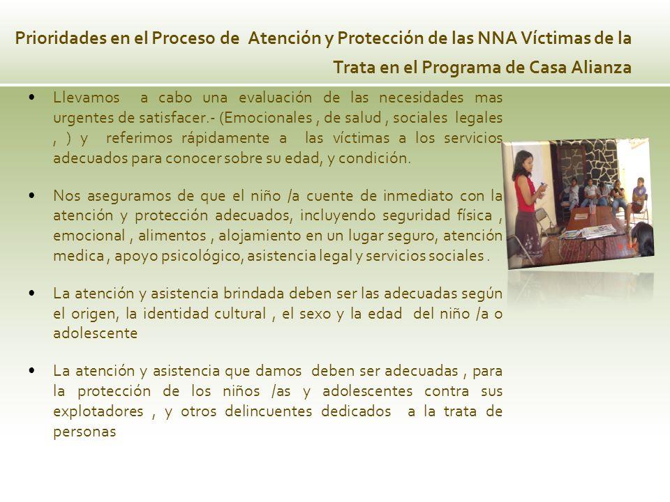 Prioridades en el Proceso de Atención y Protección de las NNA Víctimas de la Trata en el Programa de Casa Alianza