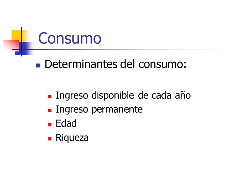Consumo Determinantes del consumo: Ingreso disponible de cada año