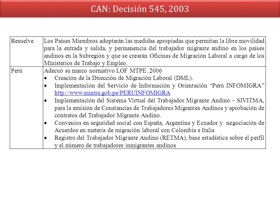 CAN: Decisión 545, 2003 Resuelve