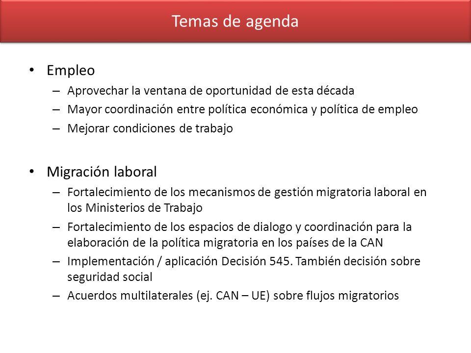 Temas de agenda Empleo Migración laboral