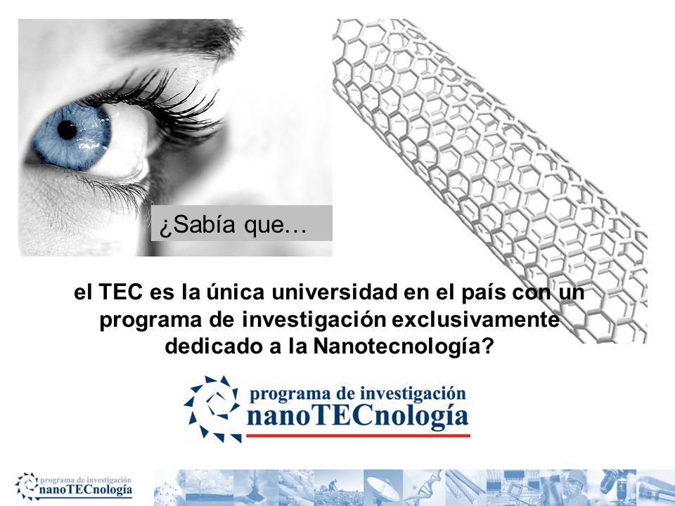 ¿Sabía que… el TEC es la única universidad en el país con un programa de investigación exclusivamente dedicado a la Nanotecnología