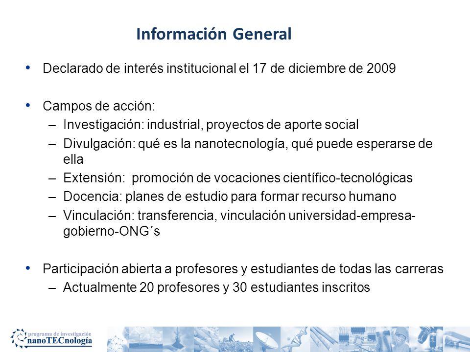 Información General Declarado de interés institucional el 17 de diciembre de 2009. Campos de acción:
