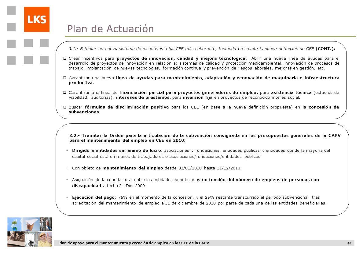 Plan de Actuación 3.1.- Estudiar un nuevo sistema de incentivos a los CEE más coherente, teniendo en cuanta la nueva definición de CEE (CONT.):