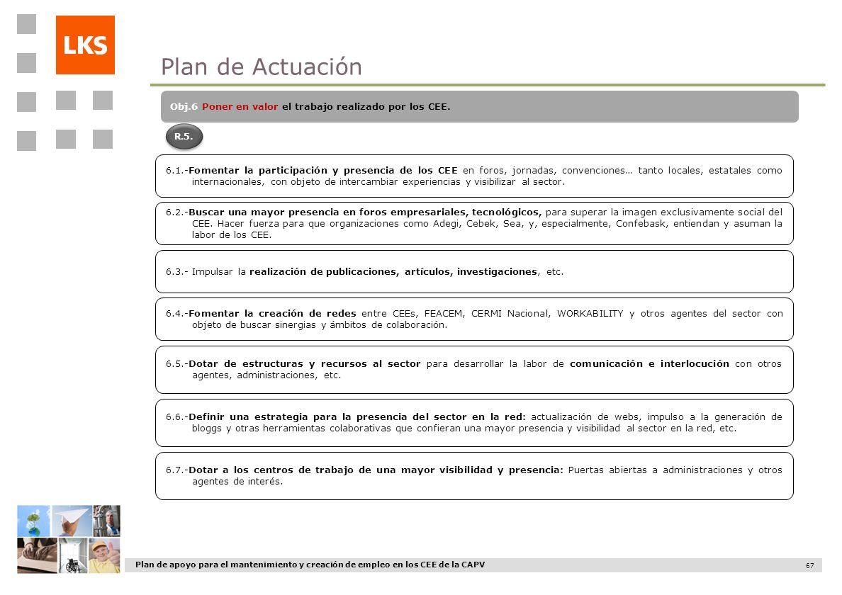 Plan de Actuación Obj.6 Poner en valor el trabajo realizado por los CEE. R.5.