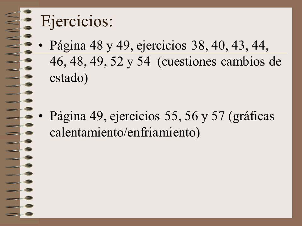 Ejercicios:Página 48 y 49, ejercicios 38, 40, 43, 44, 46, 48, 49, 52 y 54 (cuestiones cambios de estado)