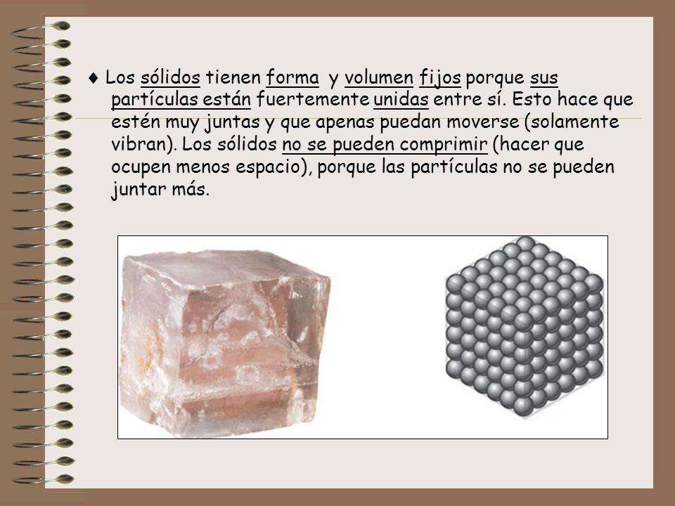  Los sólidos tienen forma y volumen fijos porque sus partículas están fuertemente unidas entre sí.
