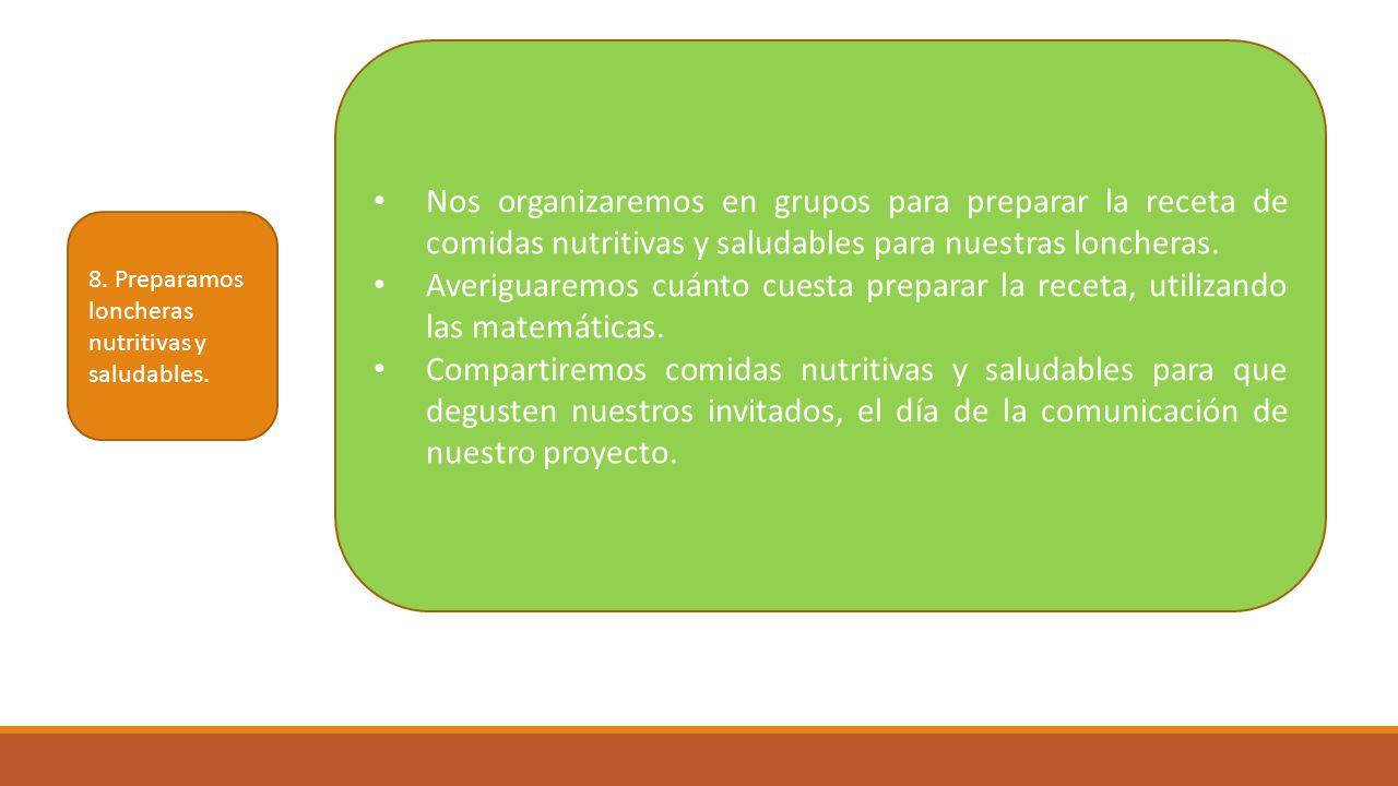 Nos organizaremos en grupos para preparar la receta de comidas nutritivas y saludables para nuestras loncheras.