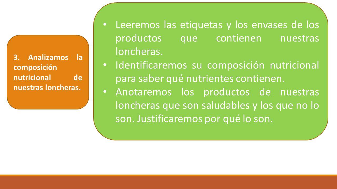 Leeremos las etiquetas y los envases de los productos que contienen nuestras loncheras.
