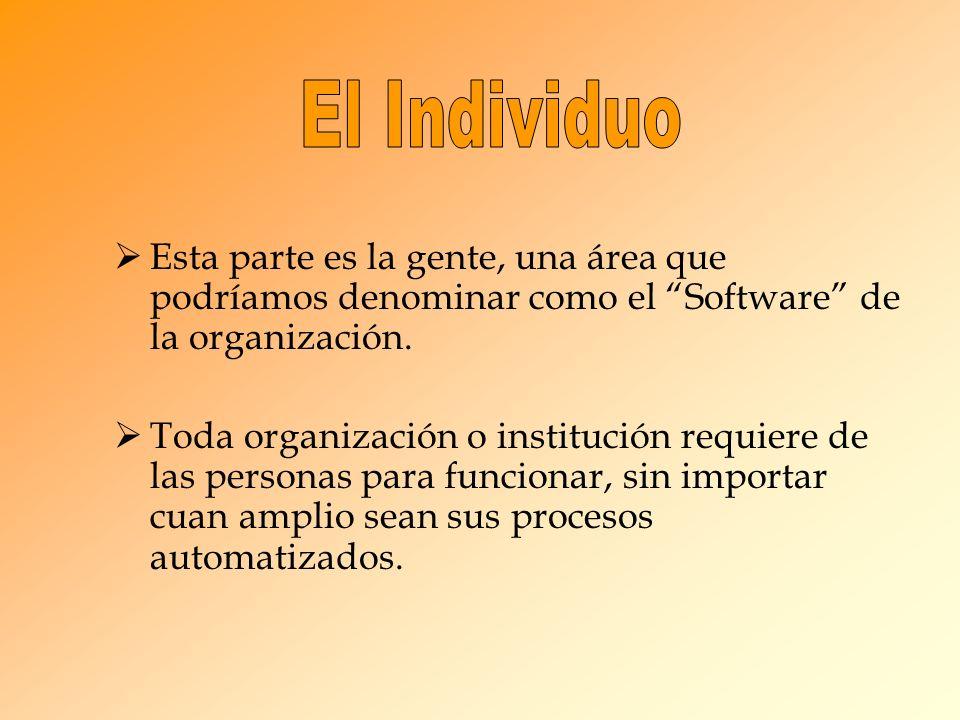 El Individuo Esta parte es la gente, una área que podríamos denominar como el Software de la organización.