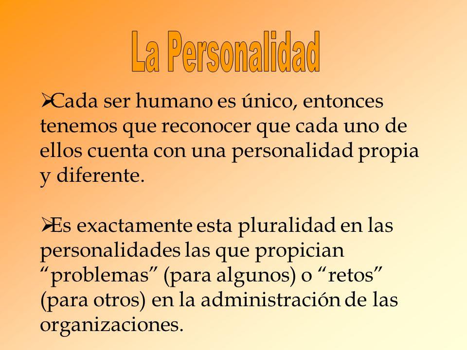 La Personalidad Cada ser humano es único, entonces tenemos que reconocer que cada uno de ellos cuenta con una personalidad propia y diferente.
