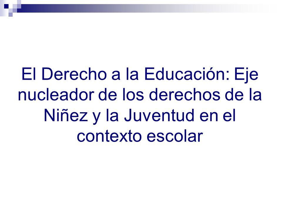 El Derecho a la Educación: Eje nucleador de los derechos de la Niñez y la Juventud en el contexto escolar