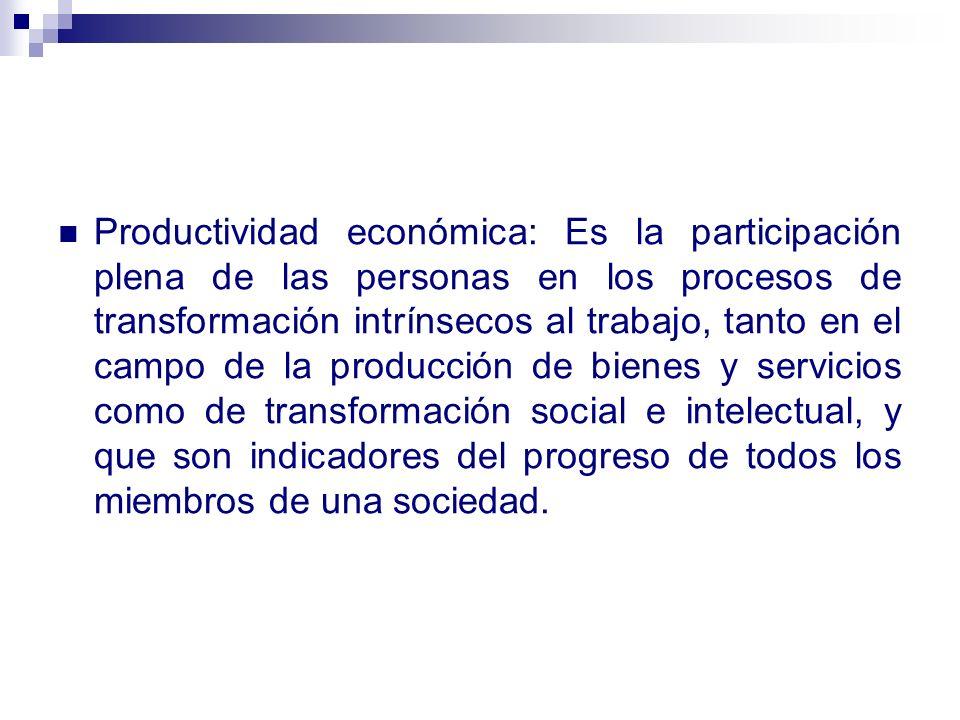 Productividad económica: Es la participación plena de las personas en los procesos de transformación intrínsecos al trabajo, tanto en el campo de la producción de bienes y servicios como de transformación social e intelectual, y que son indicadores del progreso de todos los miembros de una sociedad.