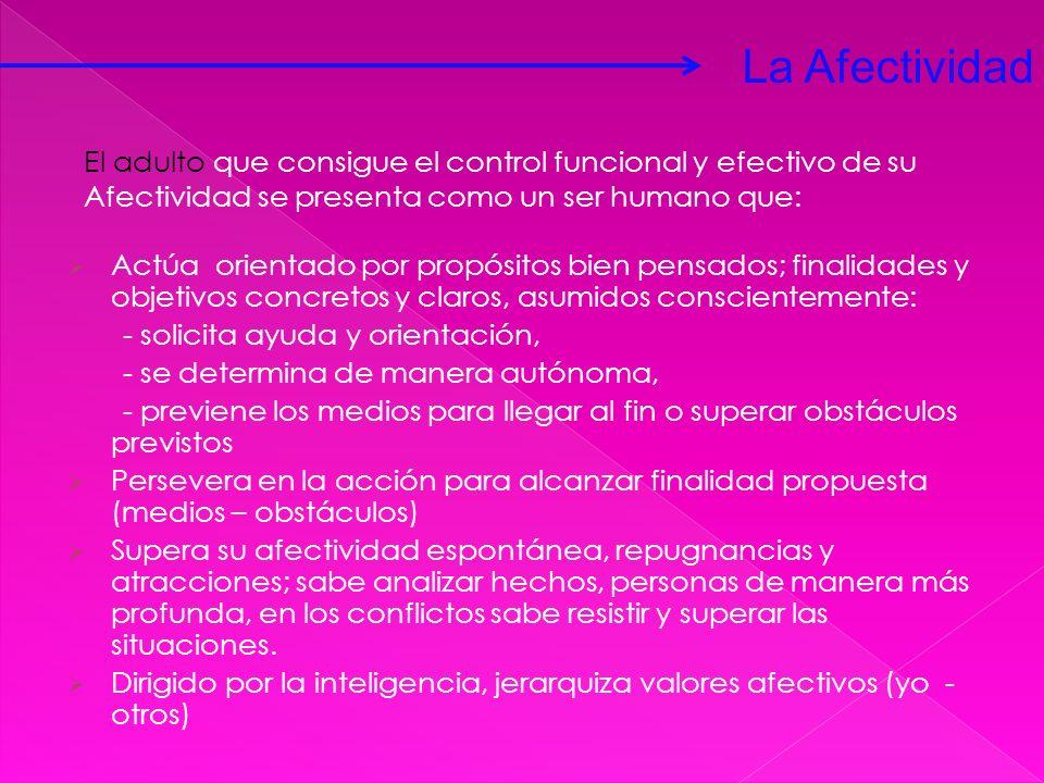 La Afectividad El adulto que consigue el control funcional y efectivo de su. Afectividad se presenta como un ser humano que: