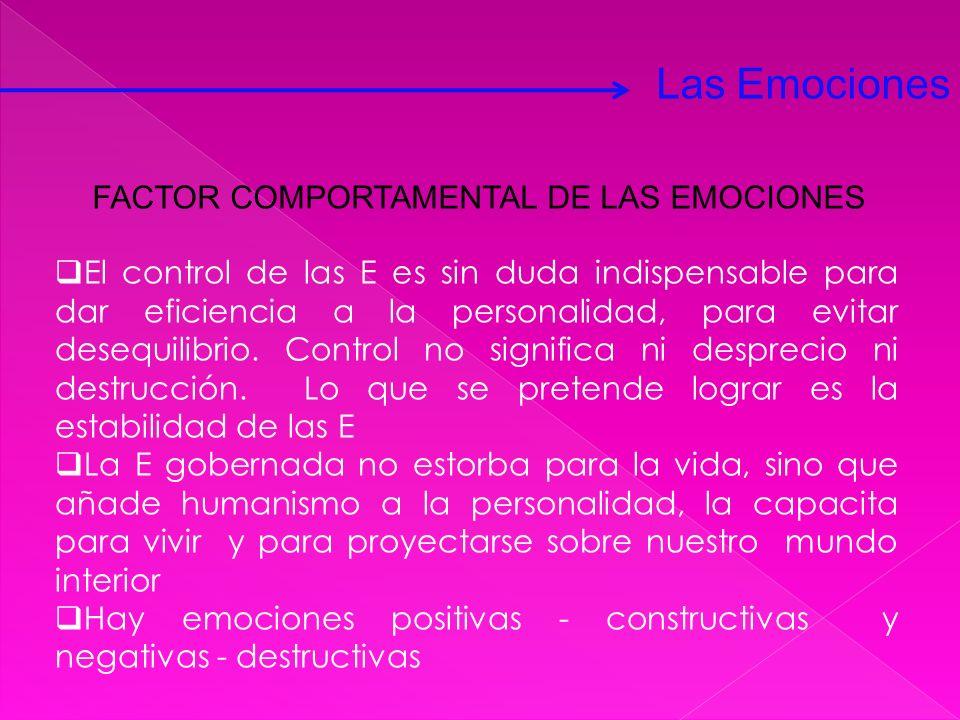 Las Emociones FACTOR COMPORTAMENTAL DE LAS EMOCIONES