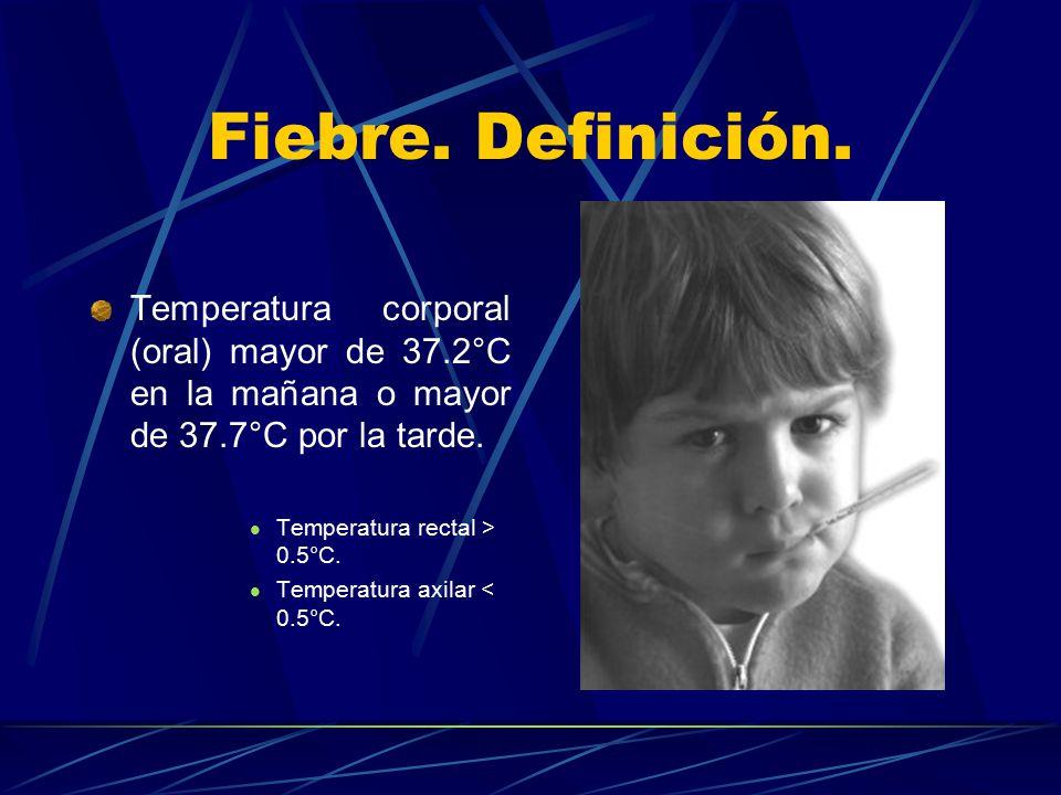 Fiebre. Definición. Temperatura corporal (oral) mayor de 37.2°C en la mañana o mayor de 37.7°C por la tarde.