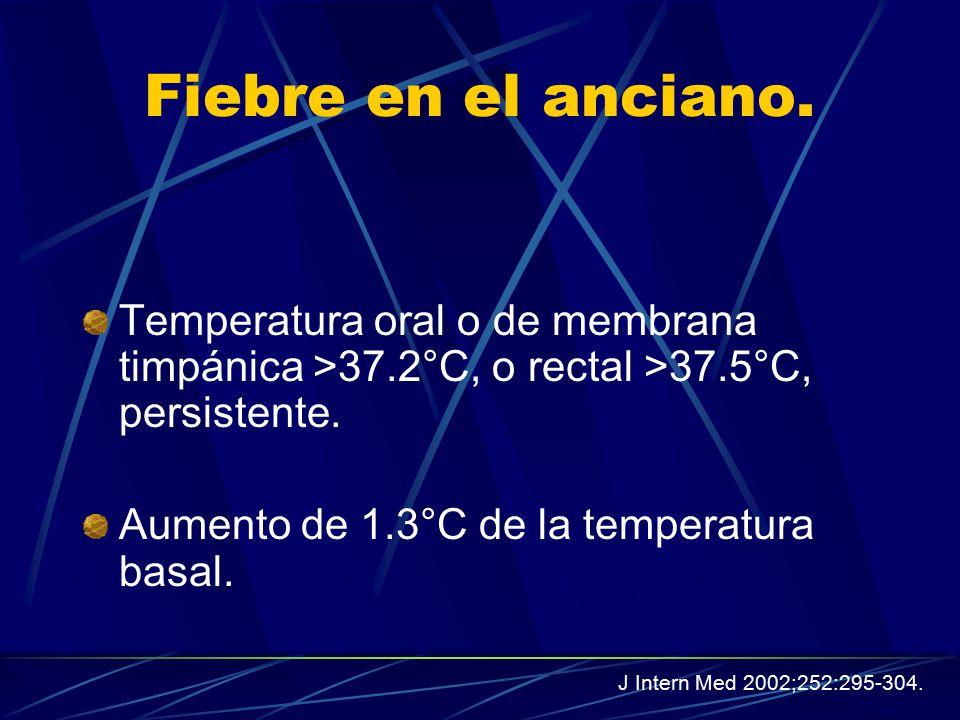 Fiebre en el anciano. Temperatura oral o de membrana timpánica >37.2°C, o rectal >37.5°C, persistente.