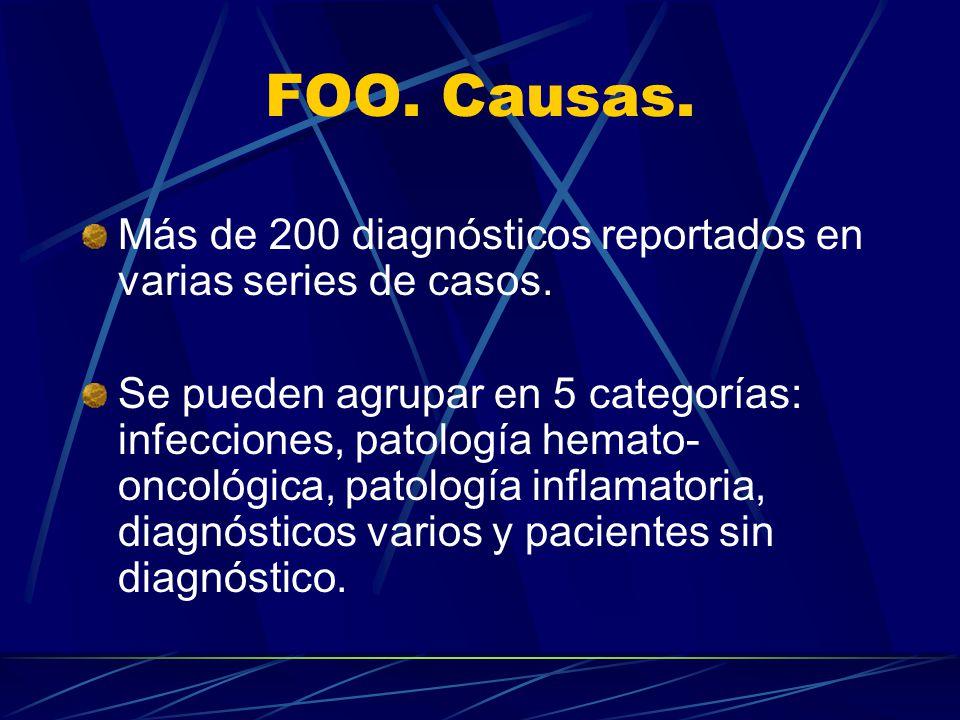 FOO. Causas. Más de 200 diagnósticos reportados en varias series de casos.