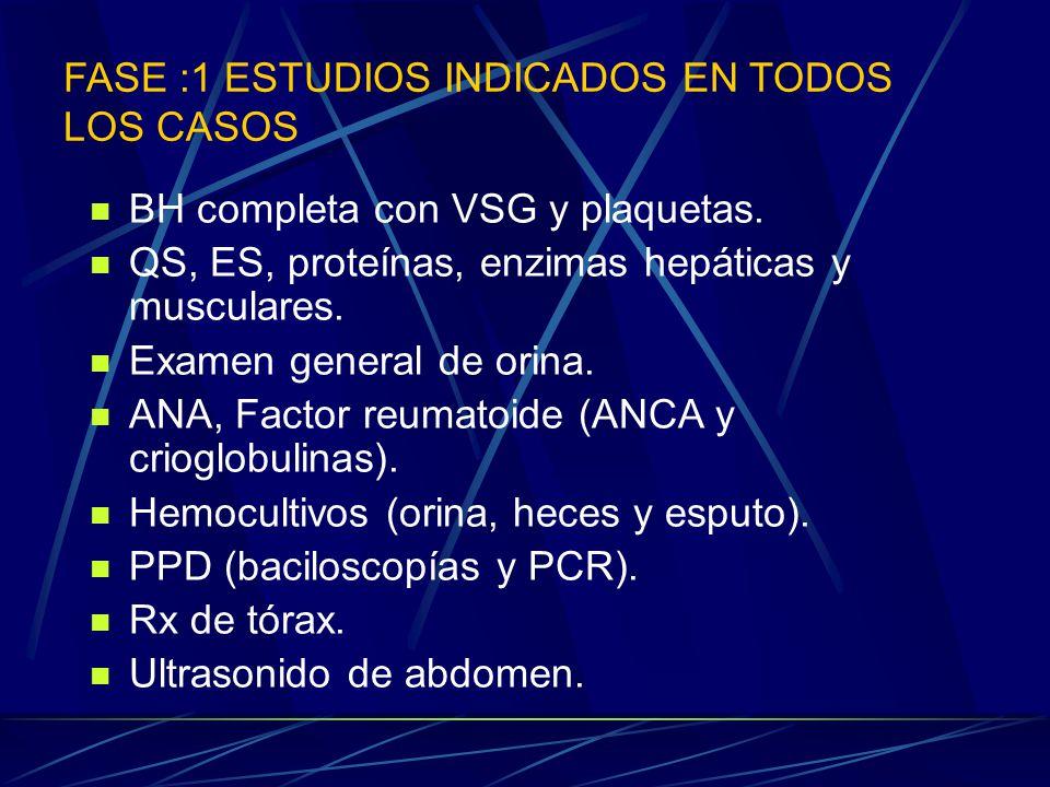FASE :1 ESTUDIOS INDICADOS EN TODOS LOS CASOS