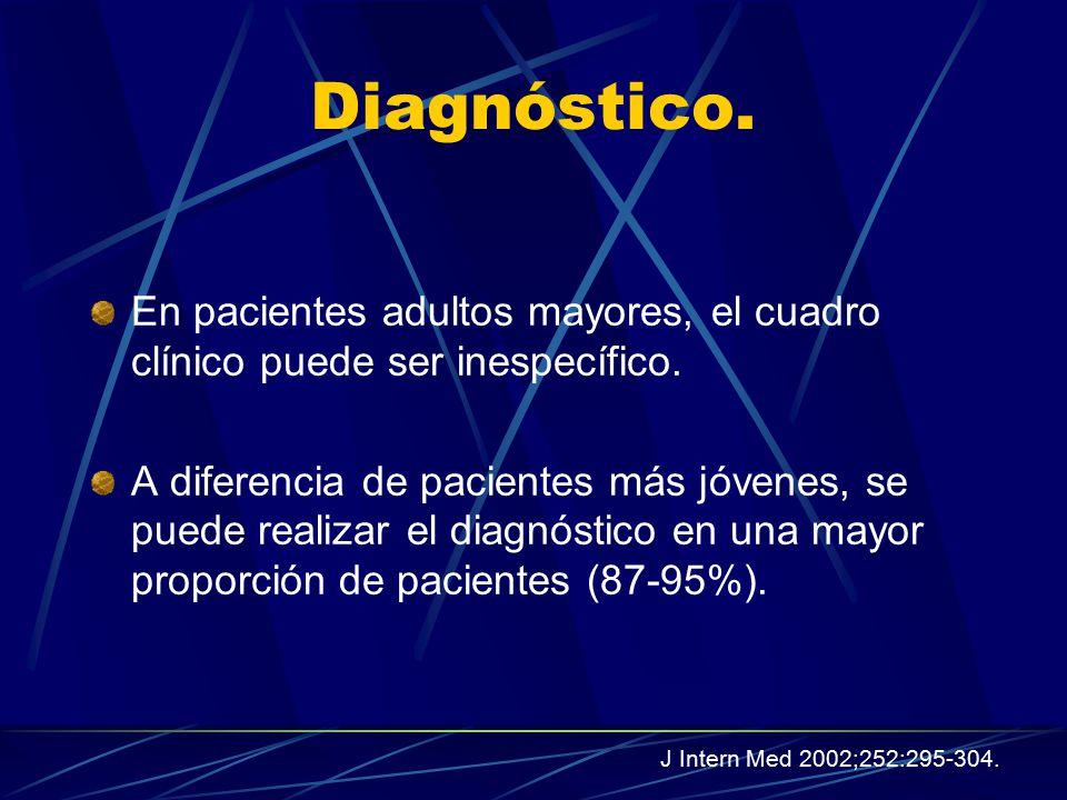 Diagnóstico. En pacientes adultos mayores, el cuadro clínico puede ser inespecífico.
