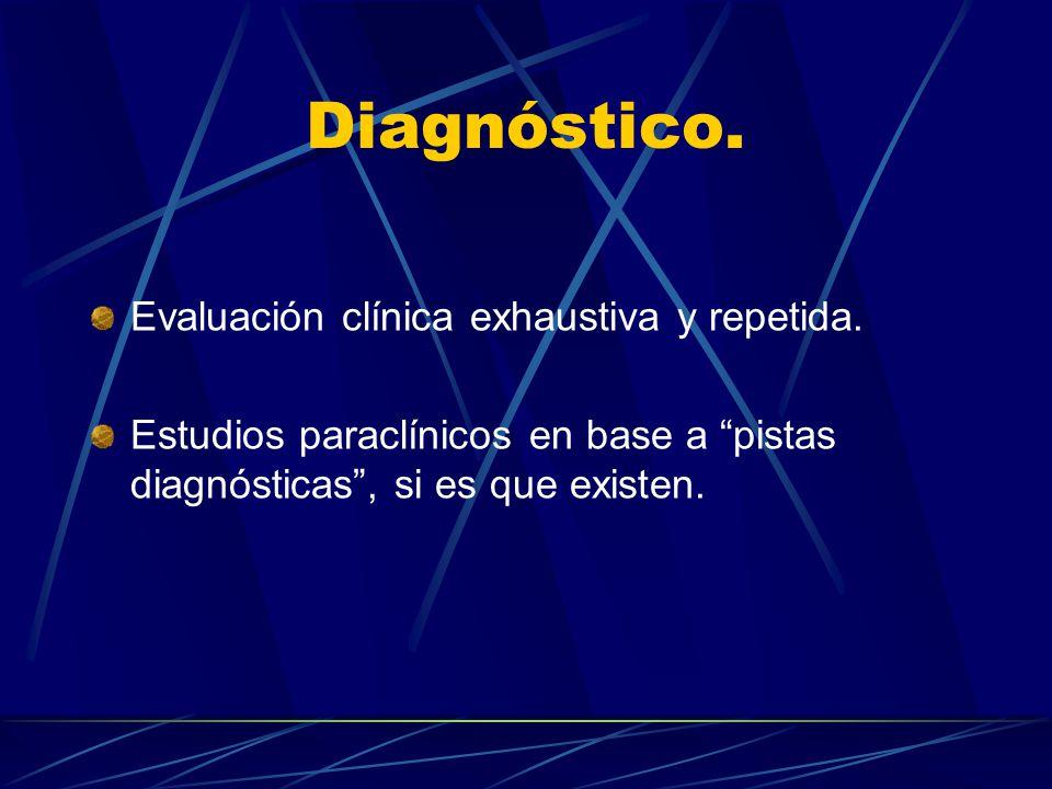 Diagnóstico. Evaluación clínica exhaustiva y repetida.