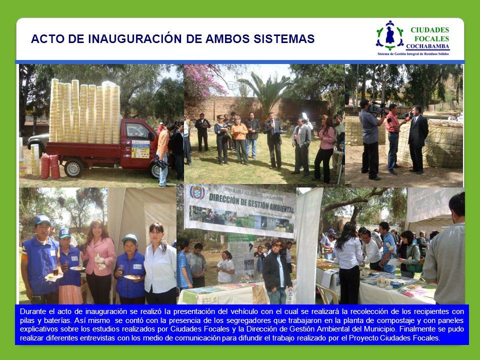 ACTO DE INAUGURACIÓN DE AMBOS SISTEMAS