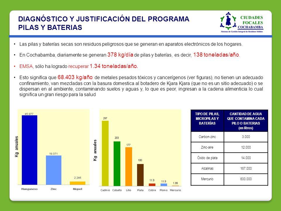 DIAGNÓSTICO Y JUSTIFICACIÓN DEL PROGRAMA PILAS Y BATERIAS