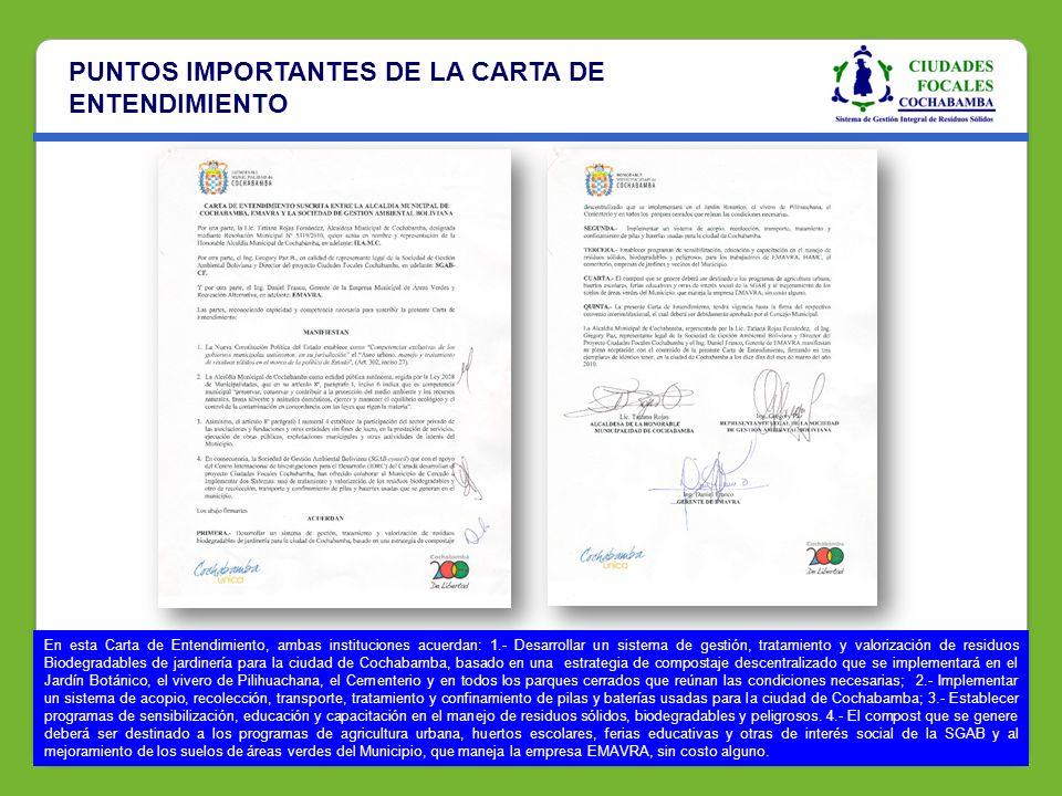 PUNTOS IMPORTANTES DE LA CARTA DE ENTENDIMIENTO