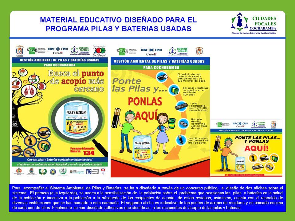 MATERIAL EDUCATIVO DISEÑADO PARA EL PROGRAMA PILAS Y BATERIAS USADAS