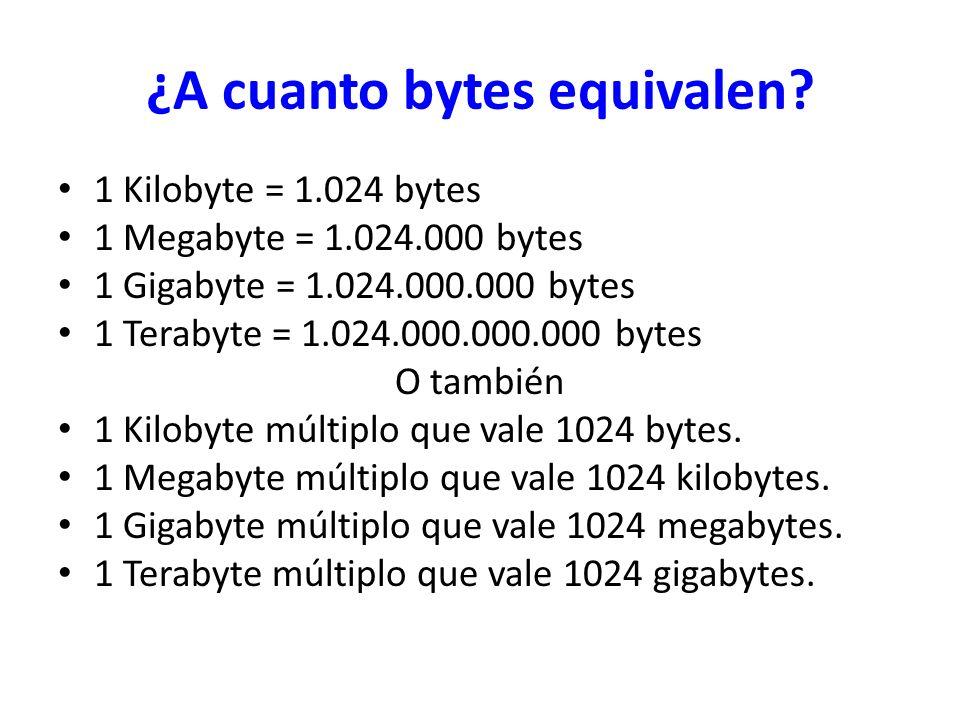¿A cuanto bytes equivalen