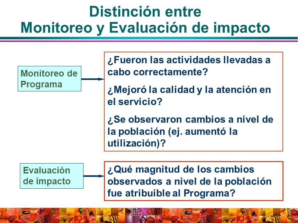 Distinción entre Monitoreo y Evaluación de impacto
