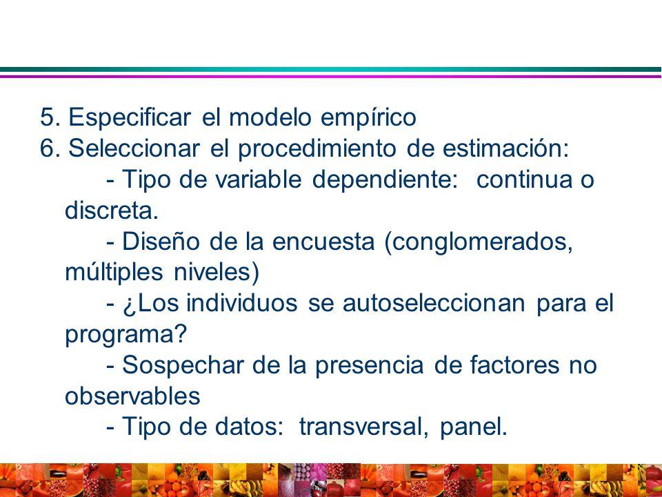 5. Especificar el modelo empírico 6